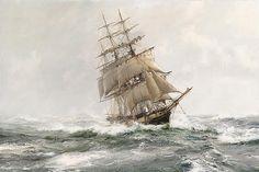 """""""White Squall – Clipper Ship Ann McKim"""" oil painting by Montague Dawson."""