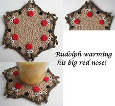 Rudolph Red Nosed Reindeer Candle Mat by HandandHookCrochet