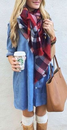 Best-Winter-Outfits-ideas-experience-Red Blue Grey Maroon coloured chex scarf