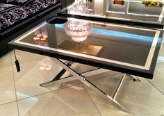 UNIQUE - Coffee Table - Wood Top, Black or White Lacquered with Chromium Frame and Metallic Base. Available at Palazzo Collezioni Boutique Sydney #versacehome #furniture #fashion #interior #interiordesign #luxuryhome #homedecor #style #sydney