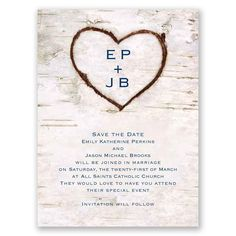 Carved in Love Save the Date Card