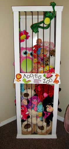 """Perfect for those big kids that have a zoo of stuffed animals. For all those stuffed animals Mimi will be buying.LOL - Basic directions for building a stuffed animal storage """"zoo"""" from The Keeper of the Cheerios: Addies Zoo Baby Kind, Diy Stuffed Animals, Stuffed Toys, Stuffed Animal Storage Zoo, Zoo Animals, My New Room, Home Organization, Organizing Ideas, Organizing Solutions"""