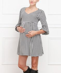 Look what I found on #zulily! Black & White Houndstooth Maternity V-Neck Dress by Hot Mama Maternity #zulilyfinds $24.99, regular 80.00