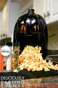 Cool idea for serving popcorn at Halloween