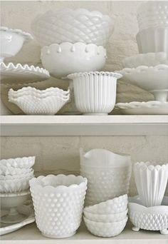 I collect White Milk Glass Hobnail too. My husband can't remember Hobnail so he calls it Nipple Glass. Vintage Dishes, Vintage Glassware, Vintage Kitchen, Antique Dishes, Antique Lamps, Vintage Dinnerware, Vintage Pyrex, World Of Interiors, House Interiors