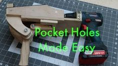 Cutting pocket holes in large panels can be cumber some when you have to take the panel to the machine so i decided to invent a machine that was compact and . Woodworking Skills, Woodworking Workshop, Woodworking Projects, Woodworking Shop, Diy Projects Plans, Diy Wood Projects, Wood Jig, Best Jigsaw, Pocket Hole Jig