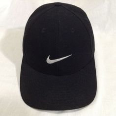 Nike Black Fitted White Logo Swoosh Wool Blend Size 7 Baseball Golf Wool Cap Hat | Clothing, Shoes & Accessories, Men's Accessories, Hats | eBay!