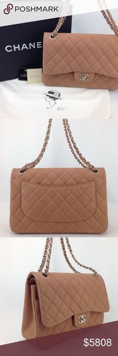 "Chanel Blush Quilted Caviar Jumbo Shoulder Bag Great condition! 100% pre-owned authentic. Serial reads 17470024. Made in Italy. No trades  Exterior features: - flat open patch pocket on back - single chain link & leather shoulder strap w/22.5"" drop; can be doubled to 12.5"" drop  Interior features: - ""love letter"" zippered pocket under front flap - smooth tonal leather lining - single flat, open pocket bw front & interior flap - single flat, open pocket under front flap w/ snap closure - dual…"