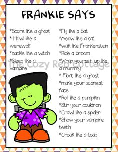 Halloween Simon Says camping, wreaths, bestfriend ideas, halloween The post F is for Frankenstein Mini Pack appeared first on Dekoration. Happy Halloween, Halloween Music, Halloween Games For Kids, Theme Halloween, Halloween Activities, Holidays Halloween, Halloween Halloween, Halloween Preschool Activities, Haloween Games