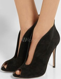 Peep Toe Booties High Heel Suede Balck Slip-On Sexy Ankle Boots For Women - Milanoo.com Summer Boots Outfit, Surprise Gifts, Peek A Boos, Types Of Shoes, Peeps, Fashion Shoes, Peep Toe, Ankle Boots, High Heels