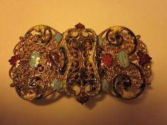 Beautiful Antique Victorian Enamel Filigree Belt Buckle | eBay