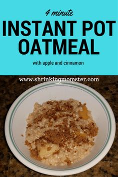 instant pot oatmeal Did 5 minutes High, 5 minutes NR then QR. Pretty thin, so it required a few minutes of sautee. Try Less liquid (4 cups) next time with 5 min High and complete NR