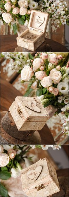Rustic country birch wedding ring box @4LOVEPolkaDots