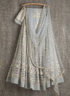 Lehengas by SwatiManish : Ice blue lehenga and dupatta with white thread work