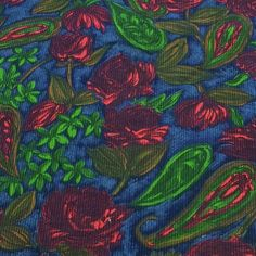 Vintage 1950s Fabric Corduroy 25 yds Midnight Roses by Revvie1, $22.00