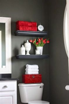Good Red Black And White Bathroom Decor Ideas Bathroom Decoration red bathroom decor Red Bathroom Accessories, Black Bathroom Decor, Bathroom Red, Yellow Bathrooms, Modern Bathroom Design, Bathroom Interior Design, Small Bathroom, Black Decor, Bathroom Ideas