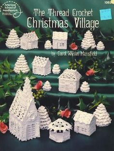 thread crochet Christmas village, free e-book