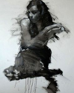 Artist: Mark Demsteader {contemporary figurative  #expressionist painter seated female abstract drip woman texture grunge painting #loveart} markdemsteader.com