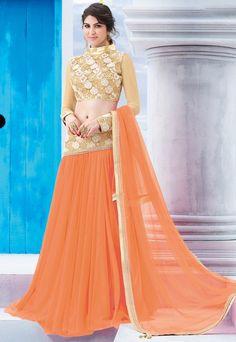 #Designer Net #Lehenga #Choli In #Orange Shade