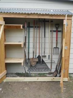 Plans to Build a shed on a weekend - easy side shed Build a Shed on a Weekend - Our plans include complete step-by-step details. If you are a first time builder trying to figure out how to build a shed, you are in the right place! Garden Tool Organization, Garden Tool Storage, Shed Storage, Outdoor Tool Storage, Carport Storage, Backyard Storage, Backyard Sheds, Outdoor Sheds, Ideas Para Decorar Jardines