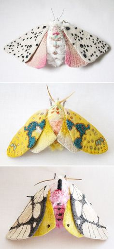 yumi okita - textile moths! When and if i become an architect or interior designer i will put one of these of something small somewhere inside of the houses or some other mark to let people know i did that like a single vertical trip on a wall in the living room or something. :)
