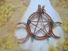 Your place to buy and sell all things handmade Triple Moon Goddess, Five Pointed Star, Jewellery Making, Wire Jewelry, Making Ideas, Mario, Crochet Necklace, Wraps, Buy And Sell