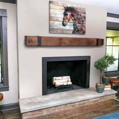 Mantel With Metal Straps – Fireplace Mantel – Mantle – Rustic Mantle – Floating – Barn Wood – Barn Beam – Custom Lengths – Farmhouse Fireplace Mantels Rustic Fireplaces, Fireplace Mantel Decor, Barn Beams, Home Fireplace, Wood Fireplace, Barn Wood, Rustic Mantle, Rustic Fireplace Mantels, Fireplace