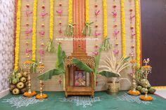 Decor by Krishna AP/ Telangana/ Karnataka/ Tamilnadu/ USA/Australia Diy Backdrop, Backdrop Decorations, Festival Decorations, Door Flower Decoration, Flower Decorations, Wedding Decorations, Craft Stick Crafts, Decor Crafts, 2nd Birthday Photos