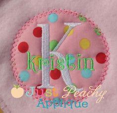 Vintage Stitch Circle Patch Applique Design