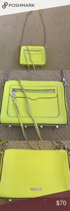 REBECCA MINKOFF HANDBAG Neon yellow Rebecca Minkoff handbag! There are a few very very light stains in the front that are just barely visible (see picture 2) but otherwise in great condition!! Rebecca Minkoff Bags Crossbody Bags
