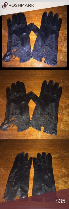 Stunning vintage leather & lace gloves! Vintage. Excellent condition. Black leather and lace. Soft lining. Stunning! Vintage Accessories Gloves & Mittens