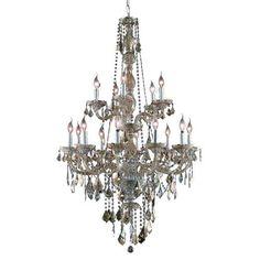 Verona Golden Teak Fifteen-Light Chandelier with Golden Teak/Smoky Royal Cut Crystals