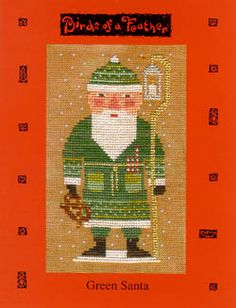 Birds of a Feather: Green Santa - Cross Stitch Pattern