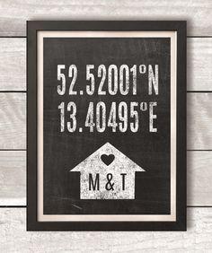 Personalisierter Originaldruck mit den genauen Koordinaten eures Wohnortes.   Ein wunderschönes Geschenk zum Hochzeitstag deiner Freunden oder ein kleines persönliches Kunstwerk für dich und...