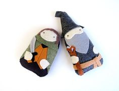 The Hobbit  Frodo and Gandalf   LOTR  Plush by sanctusstitches on Etsy. So cute. Great for any nerd.