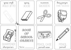 School Objects Coloring Page Classroom English Obj on Number Names Worksheets A Kindergarten Vocabulary Free Printabl Book School Objects Kindergarten Vocabulary, Vocabulary Worksheets, Kindergarten Worksheets, My Little Kids, Little Books, English Activities, Preschool Activities, Alphabet Coloring Pages, School Items