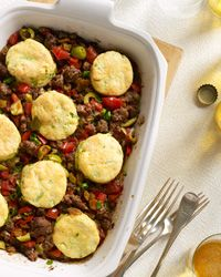 Cuban Beef Casserole with Corn-Scallion Biscuit Topping Recipe on Food & Wine