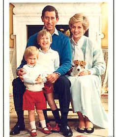Prince Charles, Princess Diana, Prince William & Prince Harry & their dog.