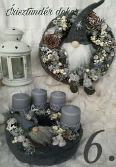 Pin by mónika mitterer on Wreaths Christmas Advent Wreath, Christmas Candle Decorations, Xmas Wreaths, Christmas Tree Themes, Christmas Candles, Noel Christmas, Christmas Projects, Floral, Diy