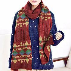 Mulheres homens casal artificial cachecol de lã de crochê malha cachecóis longos xales envoltório teste padrão geométrico