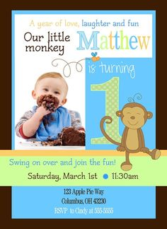 Printable Monkey Birthday Invitations Free Parkers First - Digital first birthday invitation