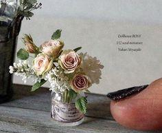 1/12scale miniature  #miniatures #handmade #crayart #flowerarrangement #antique #ドールハウス #ミニチュア #ハンドメイド #ナチュラルガーデン #ナチュラルインテリア雑貨 #フラワーアレンジメント #アンティーク