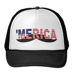 'MERICA US Flag Mustache Hat