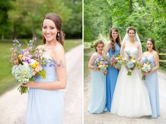 Beautiful mix and match blue toned bridesmaids dresses. Gorgeous wildflower bridal bouquets. Katie & Alec Photography, The Barn at Shady Lane wedding photographers in Birmingham, Alabama.