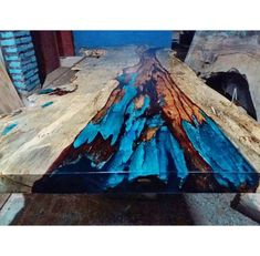 Live Edge Resin Wood Dining Table - One of a kind! (Table 2 of Wood Table Design, Dining Table Design, Resin Furniture, Vintage Furniture, Driftwood Furniture, Wood Resin Table, Unique Dining Tables, Beautiful, Artwork