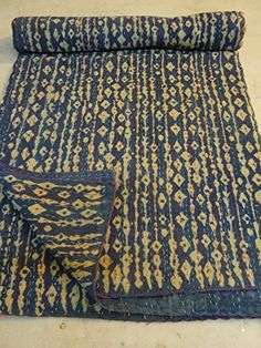 Tribal Asian Textiles Cotton Kantha Quilt Hand Block Prin…