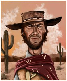 "Caricature of actor Clint Eastwood from the film ""The Good, the Bad, and the Ugly""."