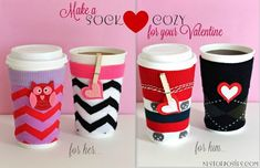 Make a coffee {SOCK} cozy for your Valentine via Nest of Posies (could use hem tape instead of sewing it) Valentine Day Love, Valentine Day Crafts, Holiday Crafts, Fun Crafts, Valentine Coffee, Valentine Ideas, Tea Cozy, Coffee Cozy, Craft Gifts
