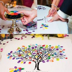 Have guests place their thumbs on an ink pad to print their thumb impressions on a tree. Great gift for a graduate, anniversary couple, or wedding couple.
