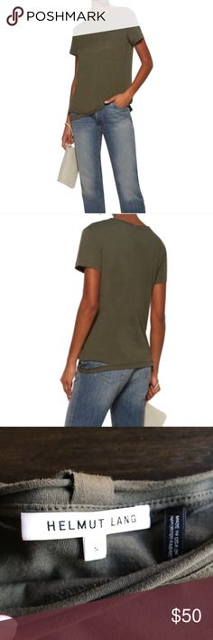Helmut Lang Cut-out Hem Shirt Army Green Small Very gently preloved Helmut Lang army-green T-shirt in Small. EUC. No fading, outdoor natural lighting makes it seem so, however color is consistent throughout shirt.  Cotton Breast pocket, cutout hem, raw trims Slips on 100% cotton Fits true to size. Cut for a relaxed fit Helmut Lang Tops Tees - Short Sleeve
